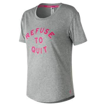 New Balance Pink Ribbon Heather Tech Graphic Tee, Heather Grey