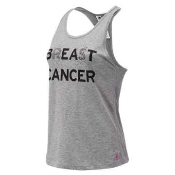 New Balance Pink Ribbon Graphic Heather Tech Racerback, Athletic Grey