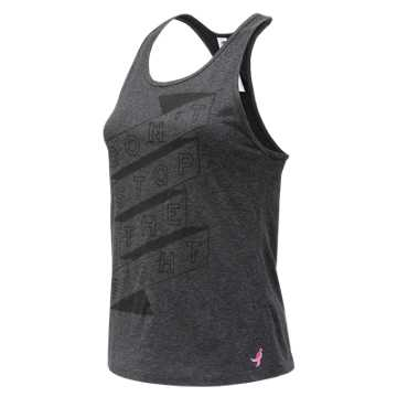 New Balance Pink Ribbon Graphic Heather Tech Racerback, Black Heather
