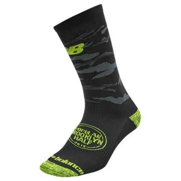 New Balance Brooklyn Half Crew Sock, Black with Lime Glo