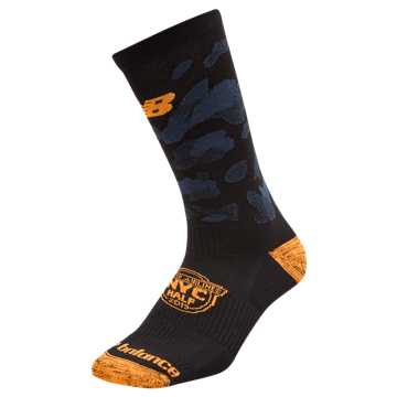 New Balance NYC Half Crew Sock, Black with Mango