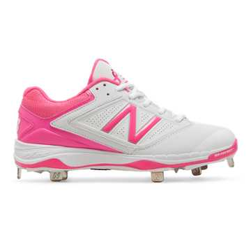 New Balance Low-Cut 4040v1 Pink Ribbon Metal Cleat, White with Komen Pink
