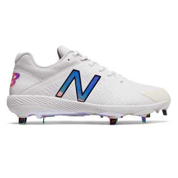 New Balance Low-Cut Fuse1 Metal Cleat, White with Rose Gold