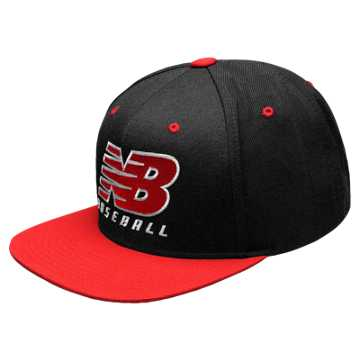 New Balance NB Baseball Snapback Hat, Black with Red