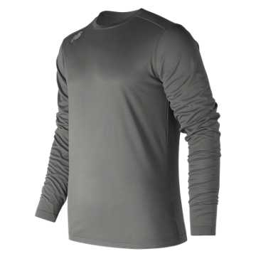 New Balance LS Tech Baseball Tee, Dark Heather Grey