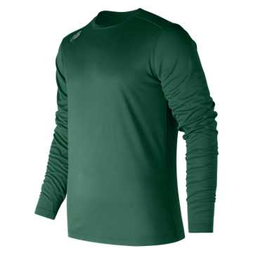 New Balance LS Tech Baseball Tee, Team Dark Green