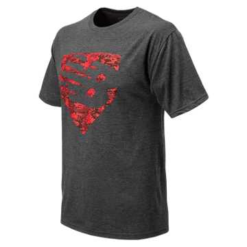 New Balance Baseball Knockout Tee, Dark Heather Grey with Team Red