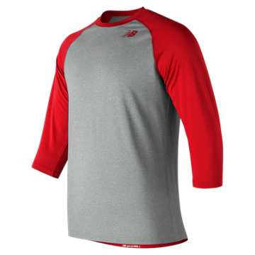 New Balance 3/4 Baseball Raglan Top, Team Red Inline