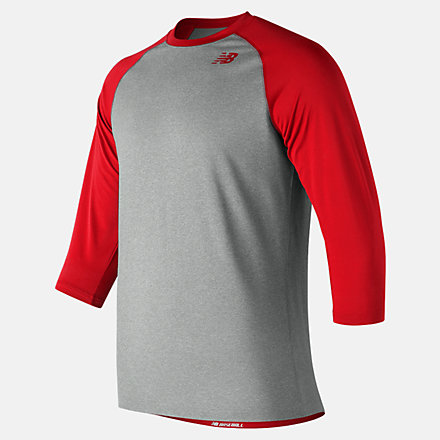 New Balance 3/4 Baseball Raglan Top, TMMT601REP image number null