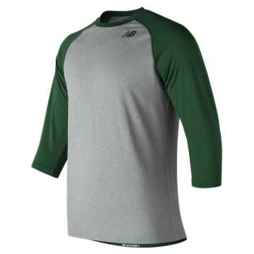New Balance 3/4 Baseball Raglan Top, Team Dark Green