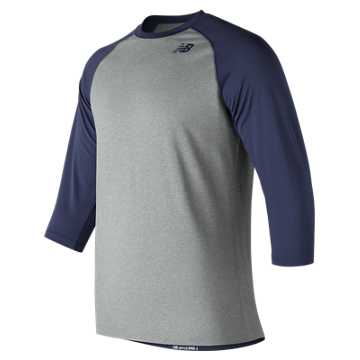 New Balance 3/4 Baseball Raglan Top, Team Navy