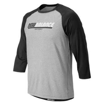 New Balance NB 3/4 Baseball Raglan Top, Team Black