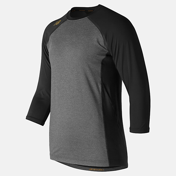 New Balance 3/4 Sleeve 4040 Bold and Gold Compression Top, TMMT650BK