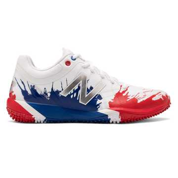 New Balance 4040v5 Turf Playoff Pack, Red with Royal Blue & Silver