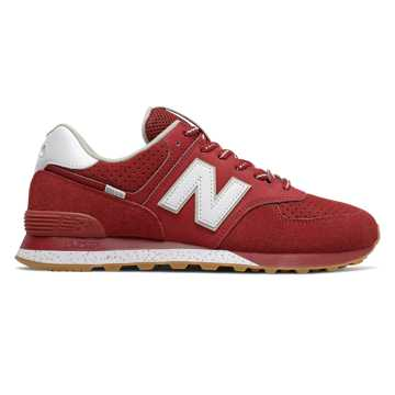 New Balance 574, Scarlet with Stonewear