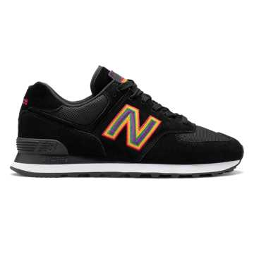 New Balance Unisex 574 Pride Pack, Black with White