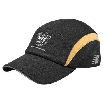 New Balance NYC Half 5 Panel Hat, Black with Mango