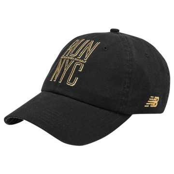 New Balance NYC Half 6 Panel Hat, Black with Mango