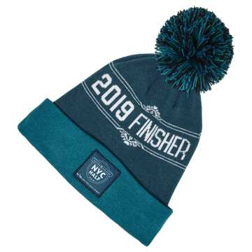 New Balance NYC Half Pom Finisher Beanie, North Sea with Black