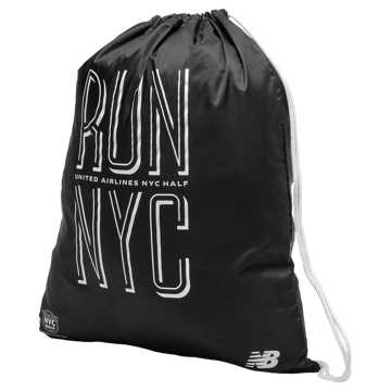 New Balance NYC Half Cinch Sack, Black with Munsell White