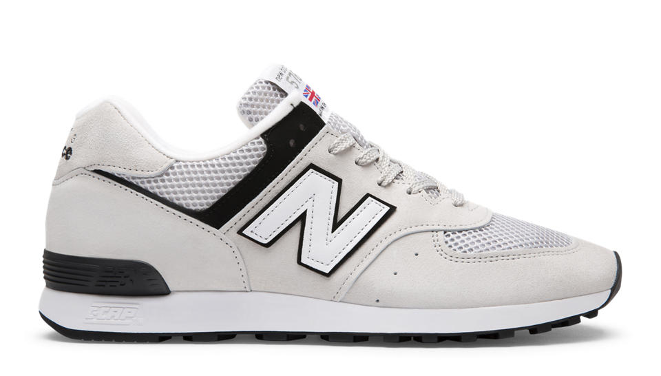 Authentic New Balance NB 576 Pig Skin Mens Training Shoes Black White  SAS2297127; NB 576 Made in UK, Light Grey with Black White