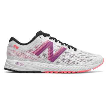 New Balance 1400v6, White with Voltage Violet & Guava