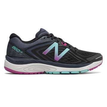 New Balance 860v8, Black with Poisonberry & Thunder