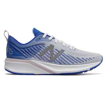 New Balance Women's 870v5, White with Vivid Cobalt & Oxygen Pink