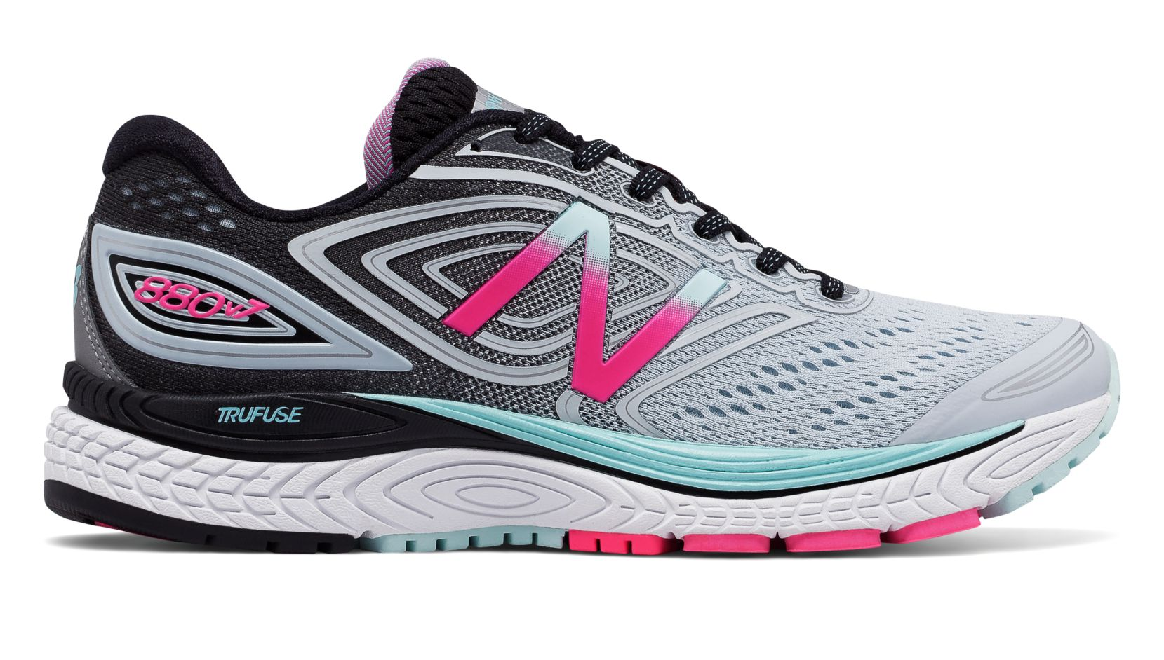 NB 880v7, Light Porcelain Blue with Black & Alpha Pink