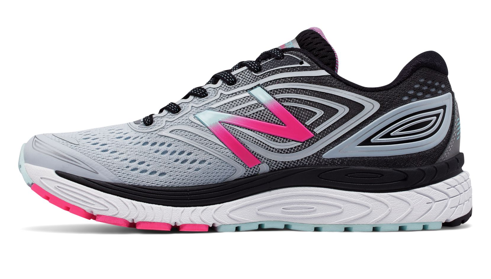 New Balance 880v7, Light Porcelain Blue with Black & Alpha Pink