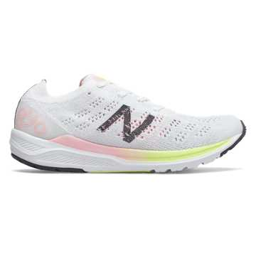 New Balance 890v7, White with Guava Glo & Bleached Lime Glo