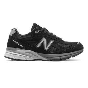New Balance Womens 990v4 Made in US, Black with Silver