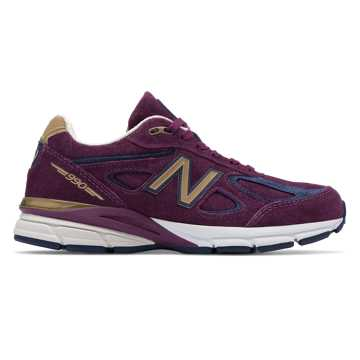 New Balance Womens 990v4 Made in US, Claret with Pigment