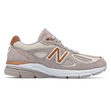 New Balance Womens 990v4 Made in US, Flat White with Alabaster