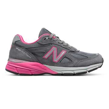 New Balance Womens 990v4 Made in US, Grey with Pink Zing