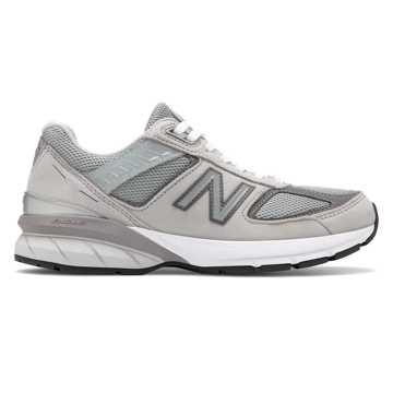 New Balance 990V5美国原产女款高级牛皮革复古运动鞋, 灰色