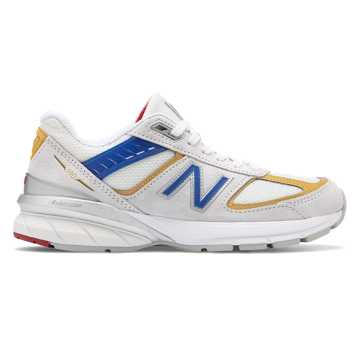New Balance Womens 990v5 Made in US, Nimbus Cloud with Team Red