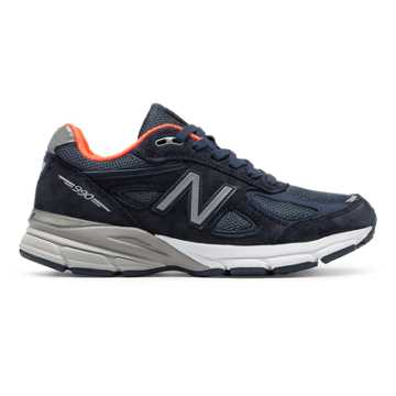New Balance Womens 990v4 Made in US, Navy with Orange