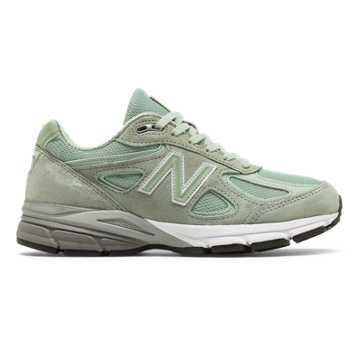 New Balance Womens 990v4 Made in US, Silver Mint