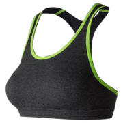 New Balance NB Trinamic Bra, Heather Charcoal with Black & Lime Glo