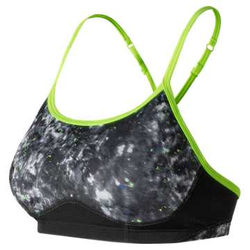 New Balance NB Hero Bra, Black with Lime Glo & White