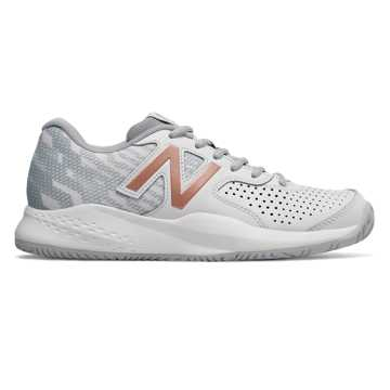 New Balance Leather 696v3, White with Rose Gold