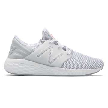 New Balance Womens Fresh Foam Cruz v2 Sport, White with Silver Mink