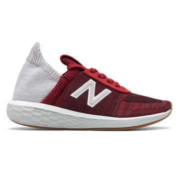 New Balance Women's Fresh Foam Cruz v2 Sock Made in US, NB Scarlet with Rain Cloud