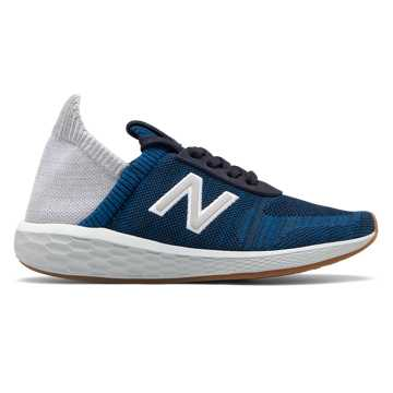 New Balance Women's Fresh Foam Cruz v2 Sock Made in US, NB Navy with Rain Cloud