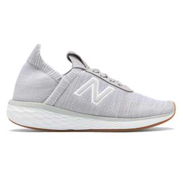 New Balance Women's Fresh Foam Cruz v2 Sock Made in US, Rain Cloud with White