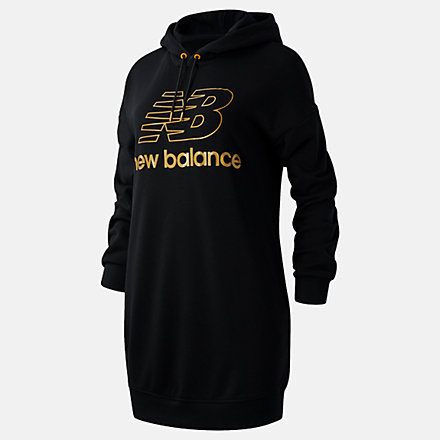 New Balance NB Athletics Village Hoodie Dress, WD03501BK image number null