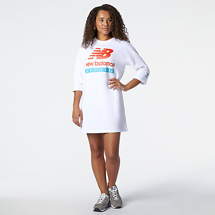 New Balance NB Essentials Field Day Crew Fleece Dress, WD11502WT image number null