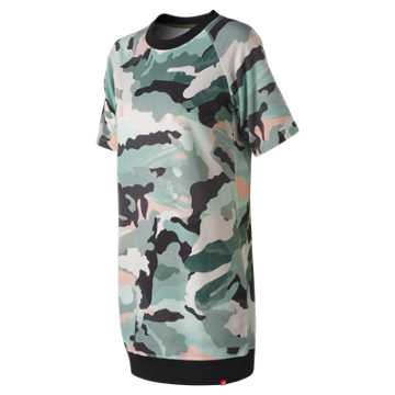 New Balance Essentials Aqua Camo Sweat Dress, Mineral Green