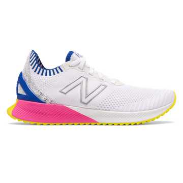 New Balance Women's FuelCell Echo, White with UV Blue & Peony